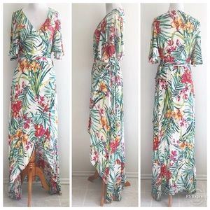 Arc & Co Dress Tropical Floral Wrap Hi Low Small